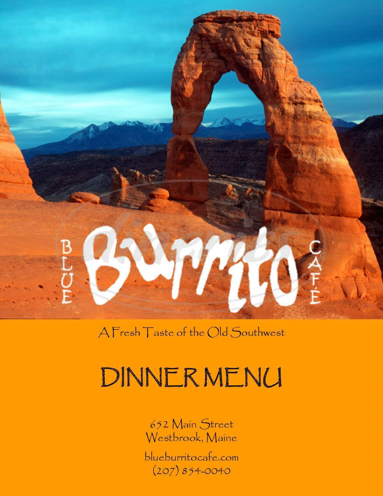menu for Blue Burrito Cafe