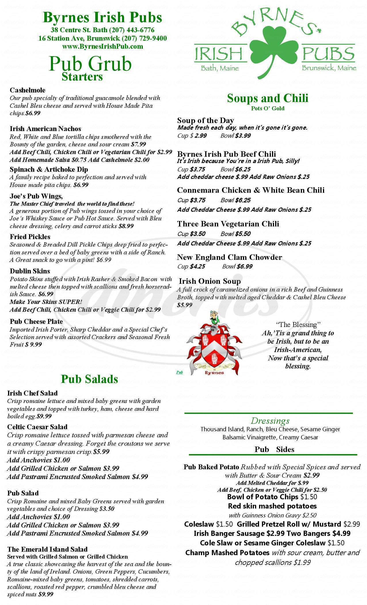 menu for Byrne's Irish Pub