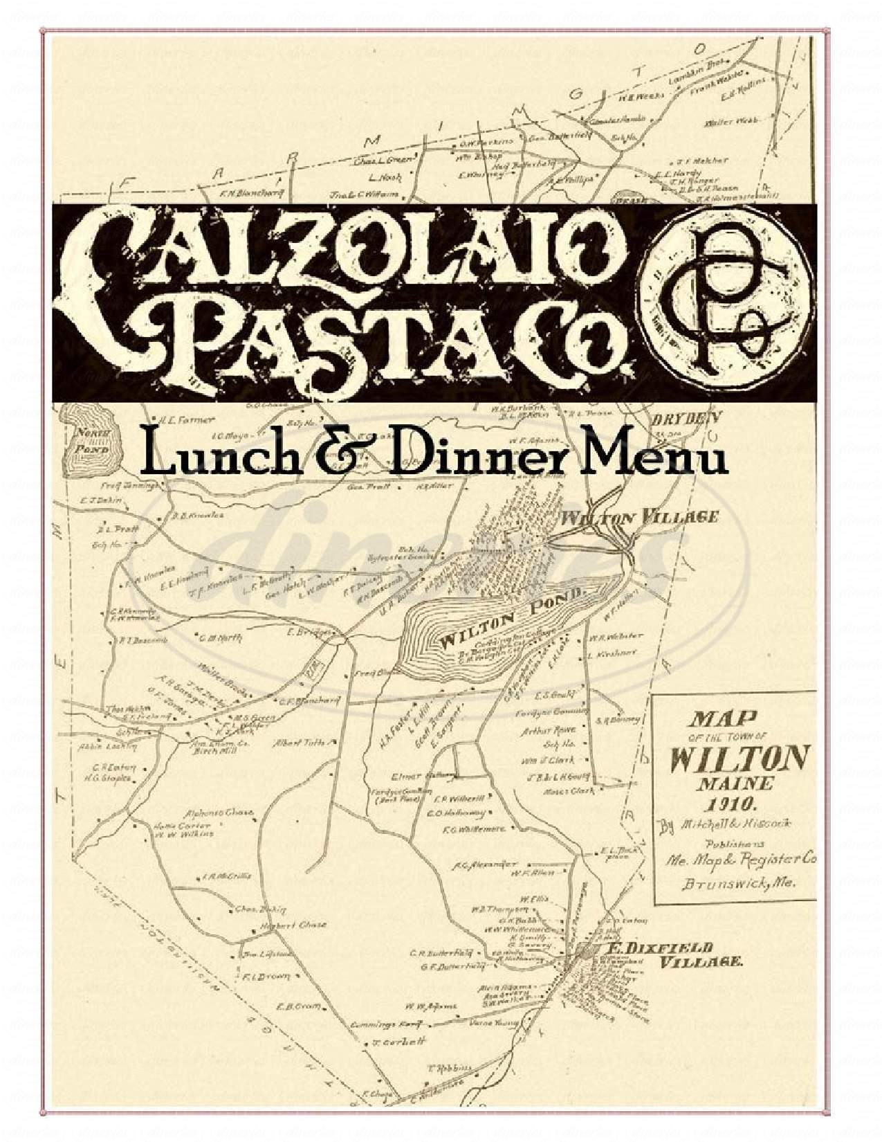 menu for Calzolaio Pasta Company