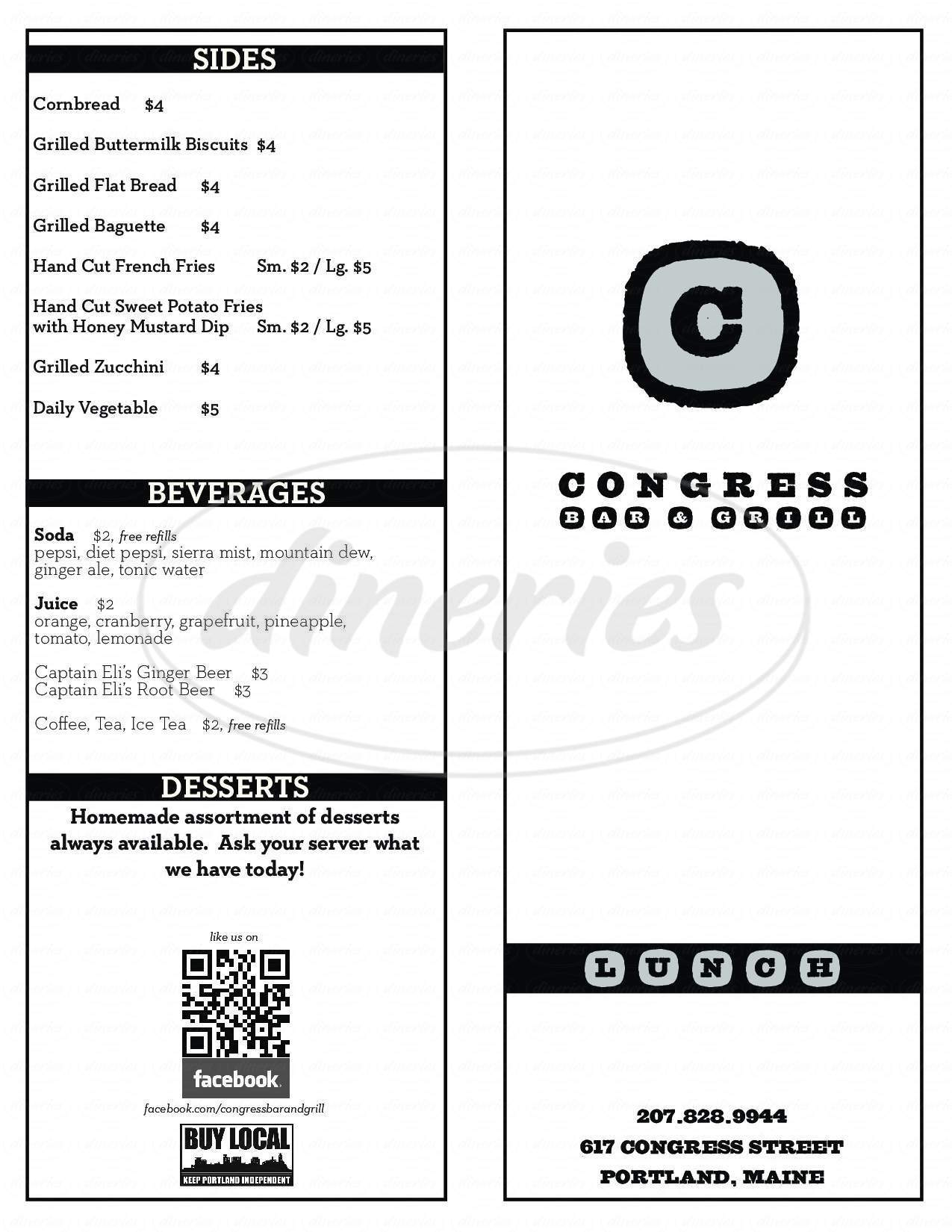 menu for Congress Bar & Grill