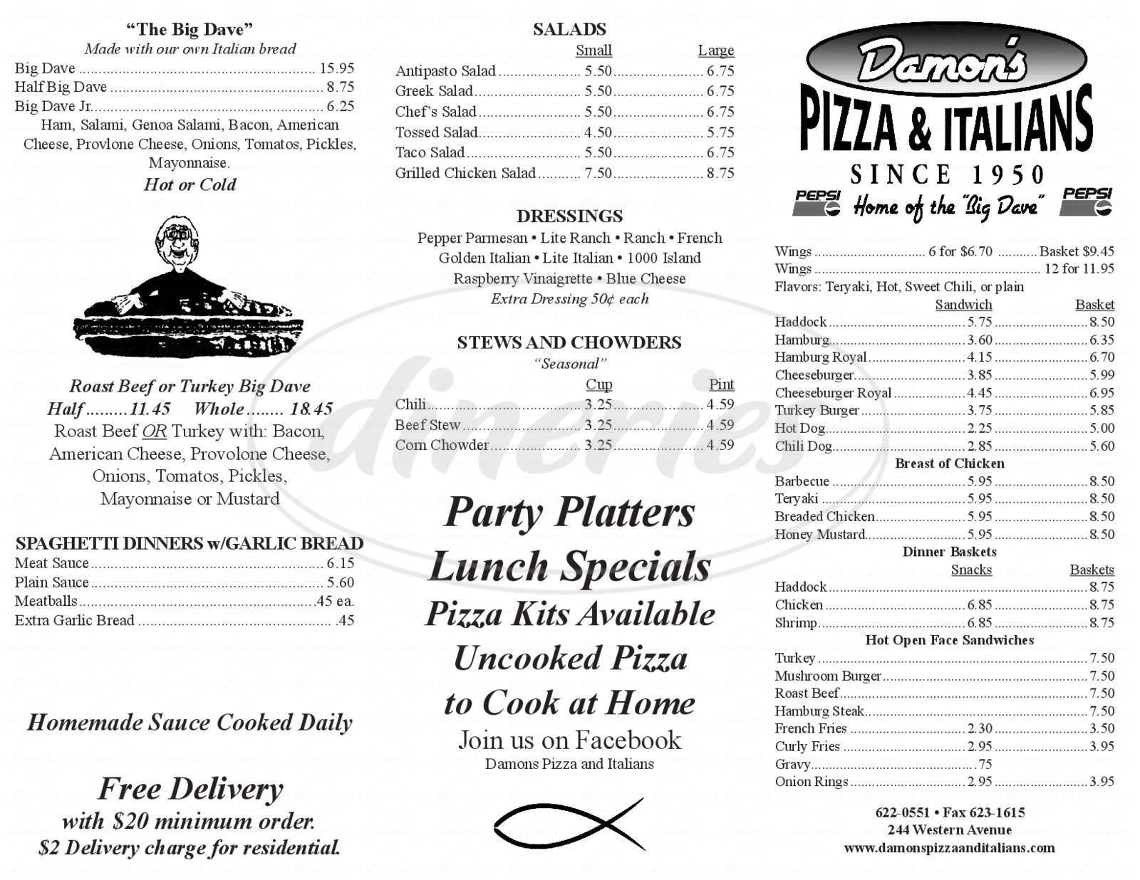 menu for Damon's Pizza & Italians