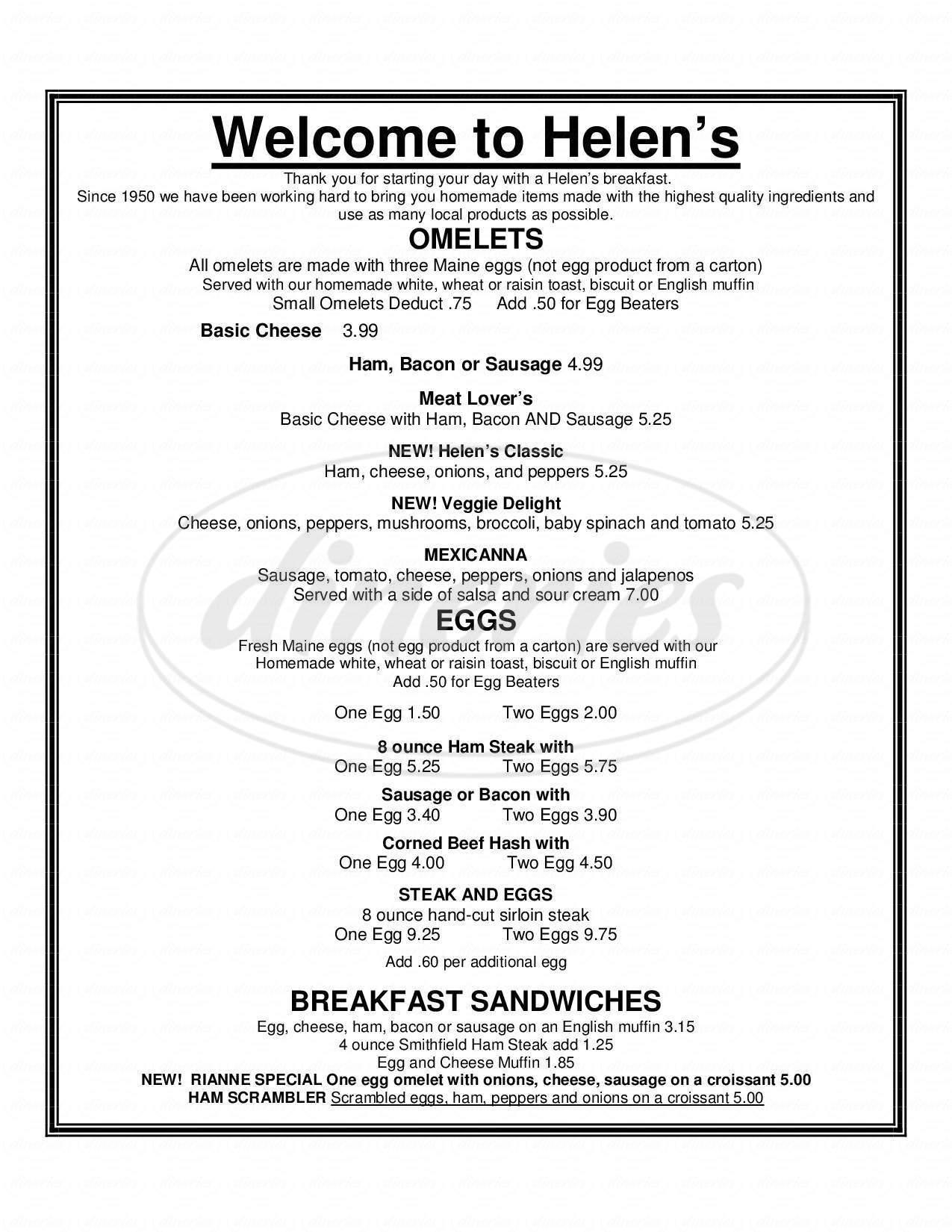 menu for Helen's Restaurant