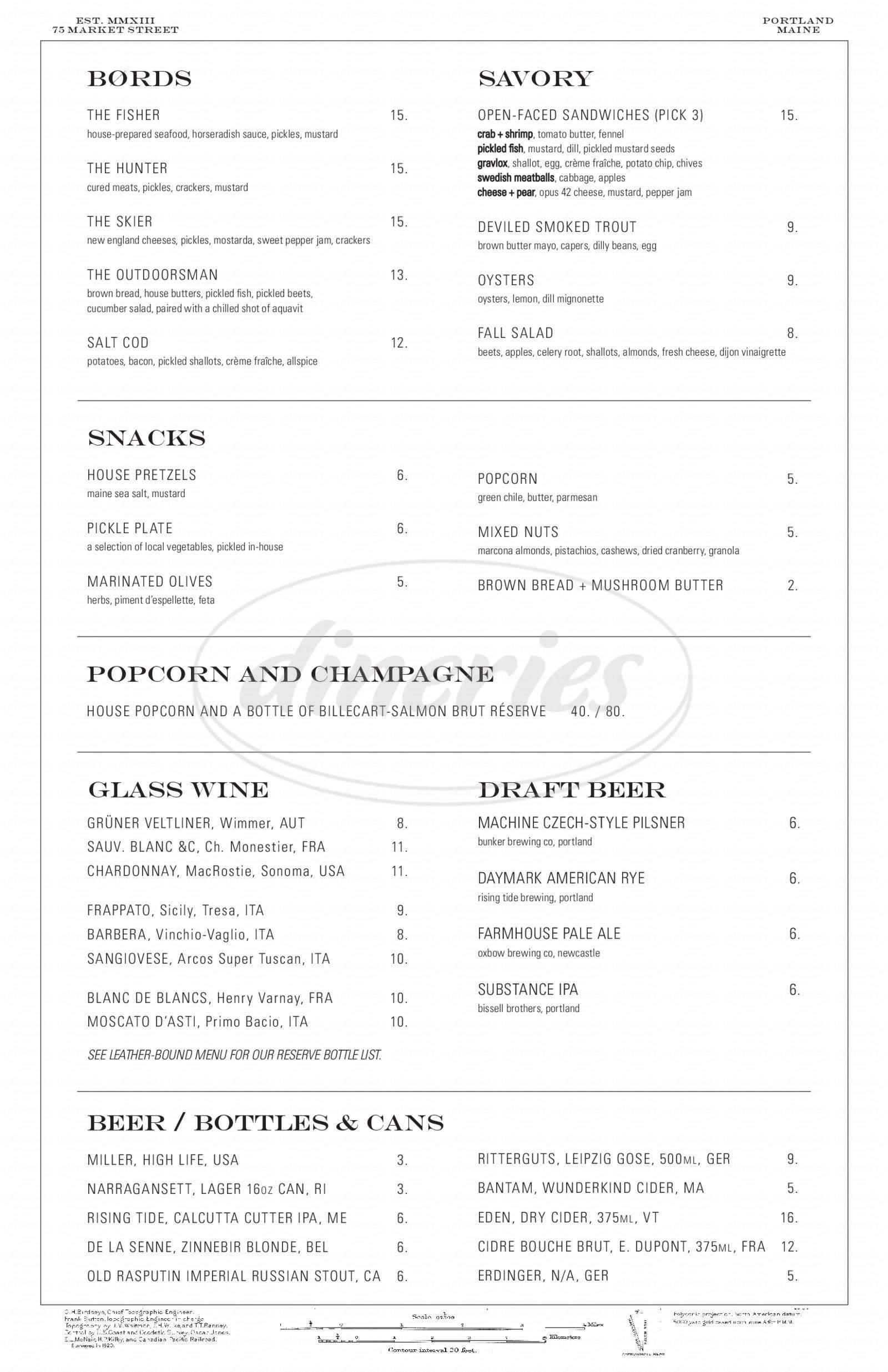 menu for Portland Hunt & Alpine Club