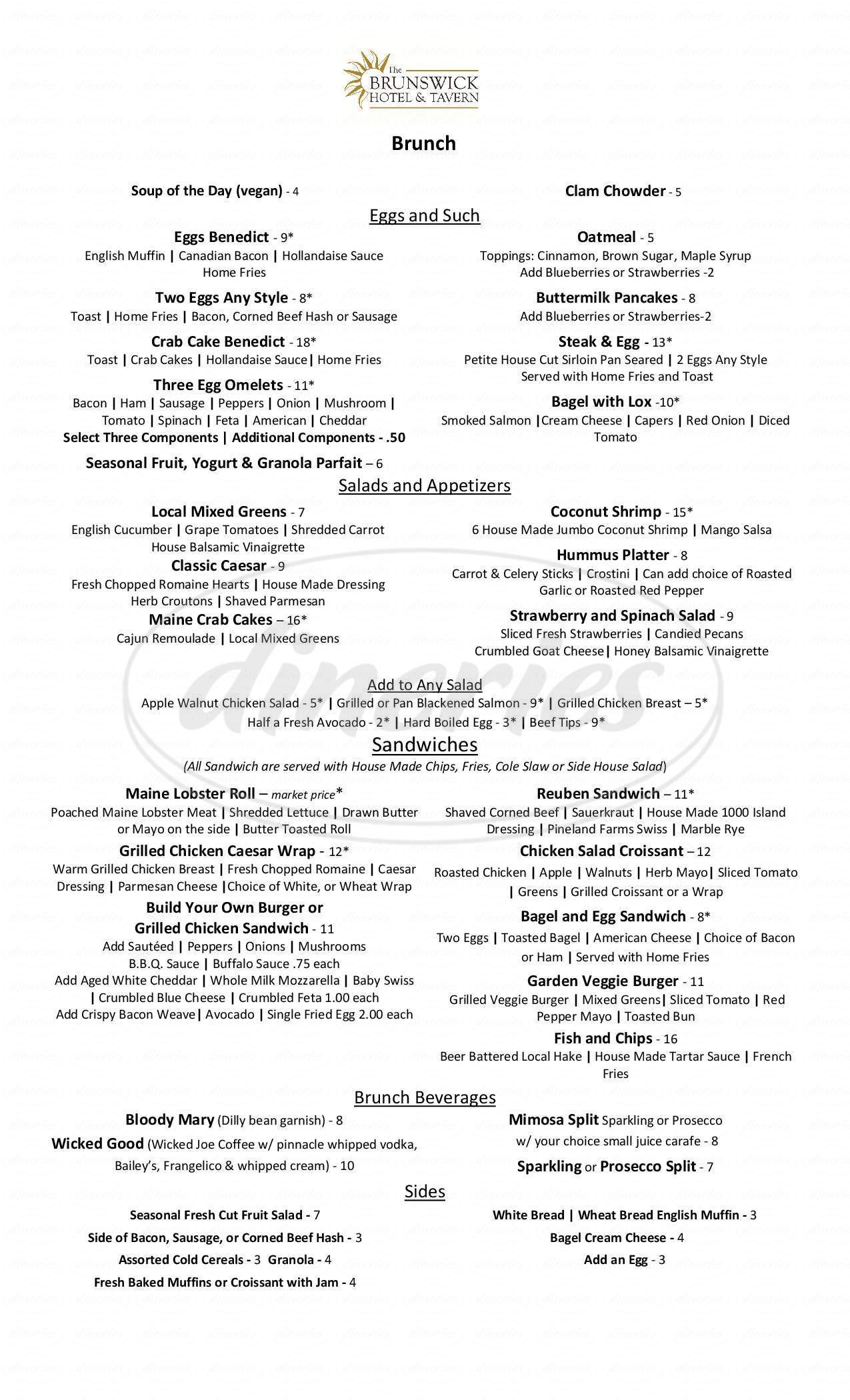 menu for Tavern Dining