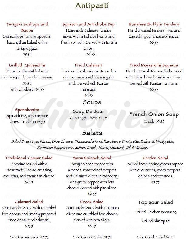 menu for Kosta's Restaurant & Bar
