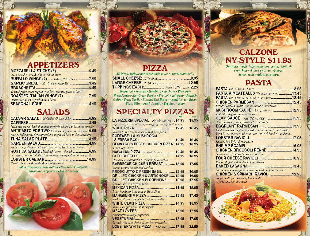 menu for La Pizzeria