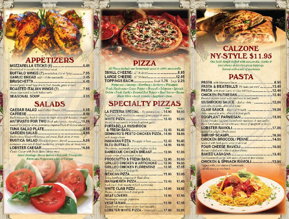 menu for La Pizzeria