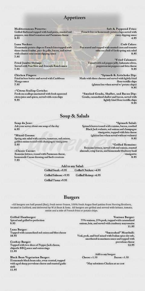 menu for Luna Bar & Grill
