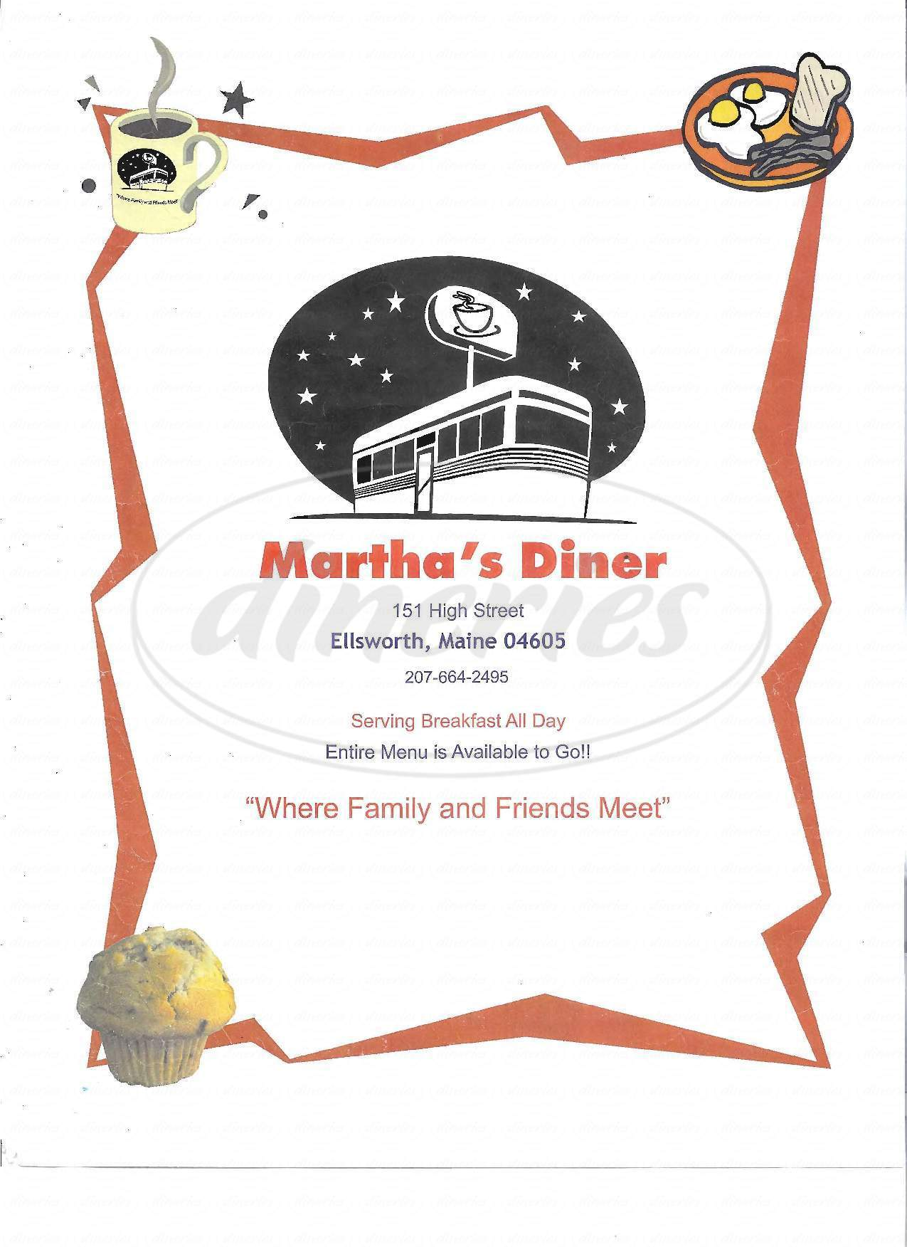 menu for Martha's Diner