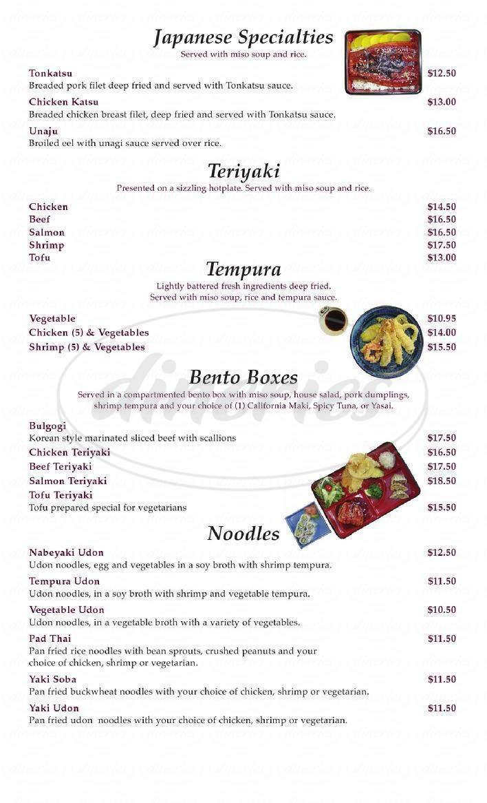 menu for Nara Sushi