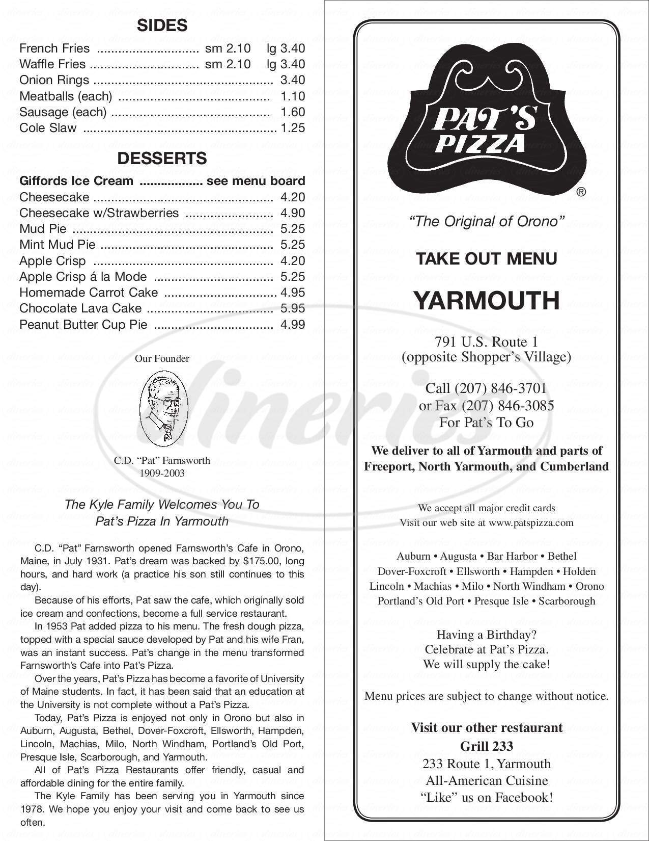 menu for Pat's Pizza