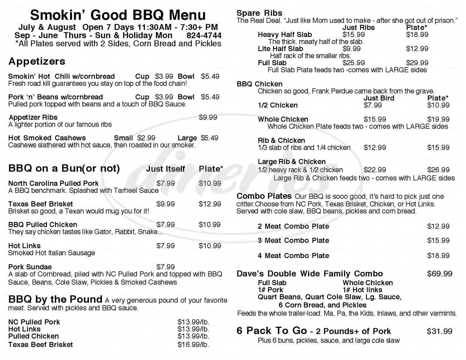 menu for Smokin' Good BBQ