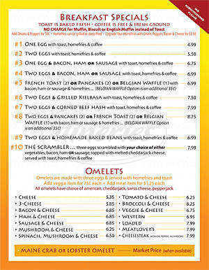 menu for Sylvia's Cafe