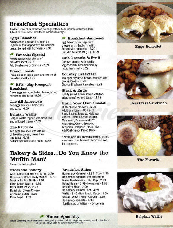 menu for Freeport Cafe