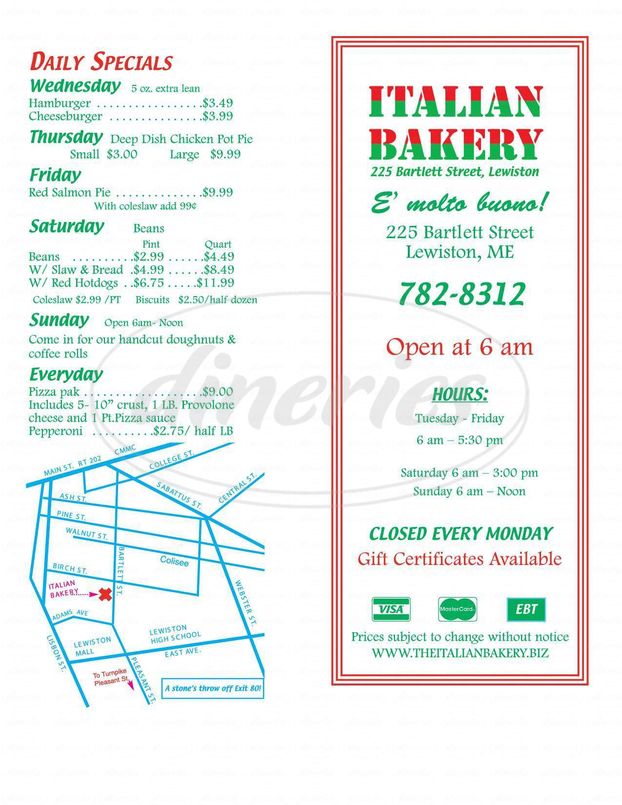 menu for Italian Bakery Products Co