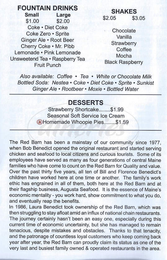 menu for Red Barn Drive-In