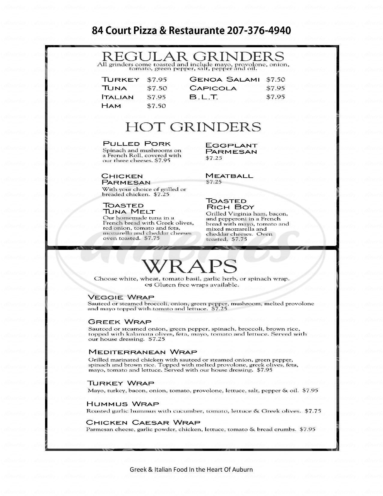 menu for 84 Court Pizza &  Restaurante