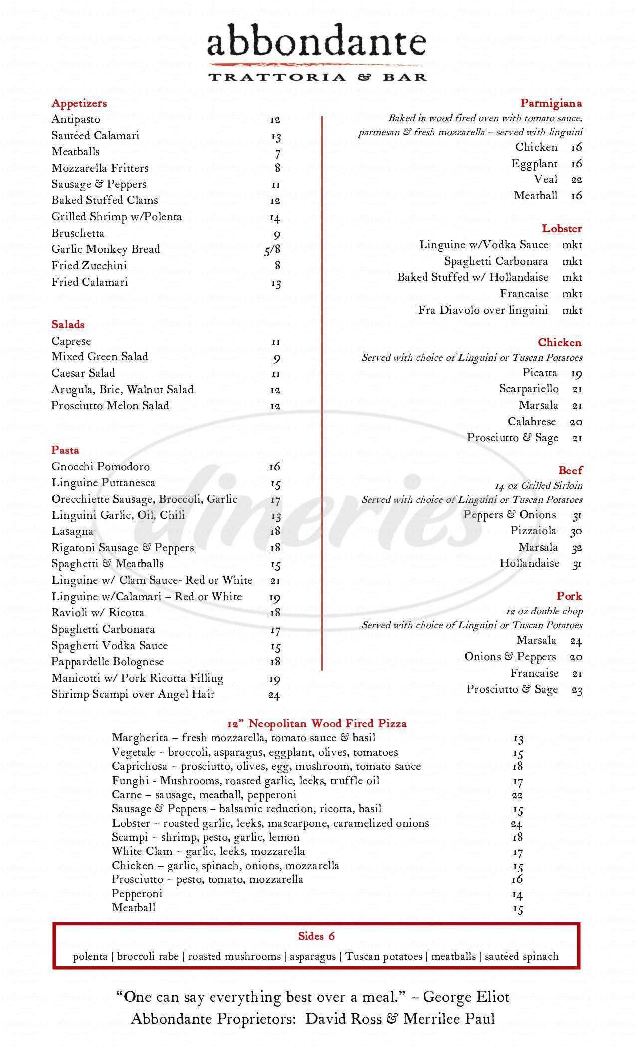 menu for Abbondante