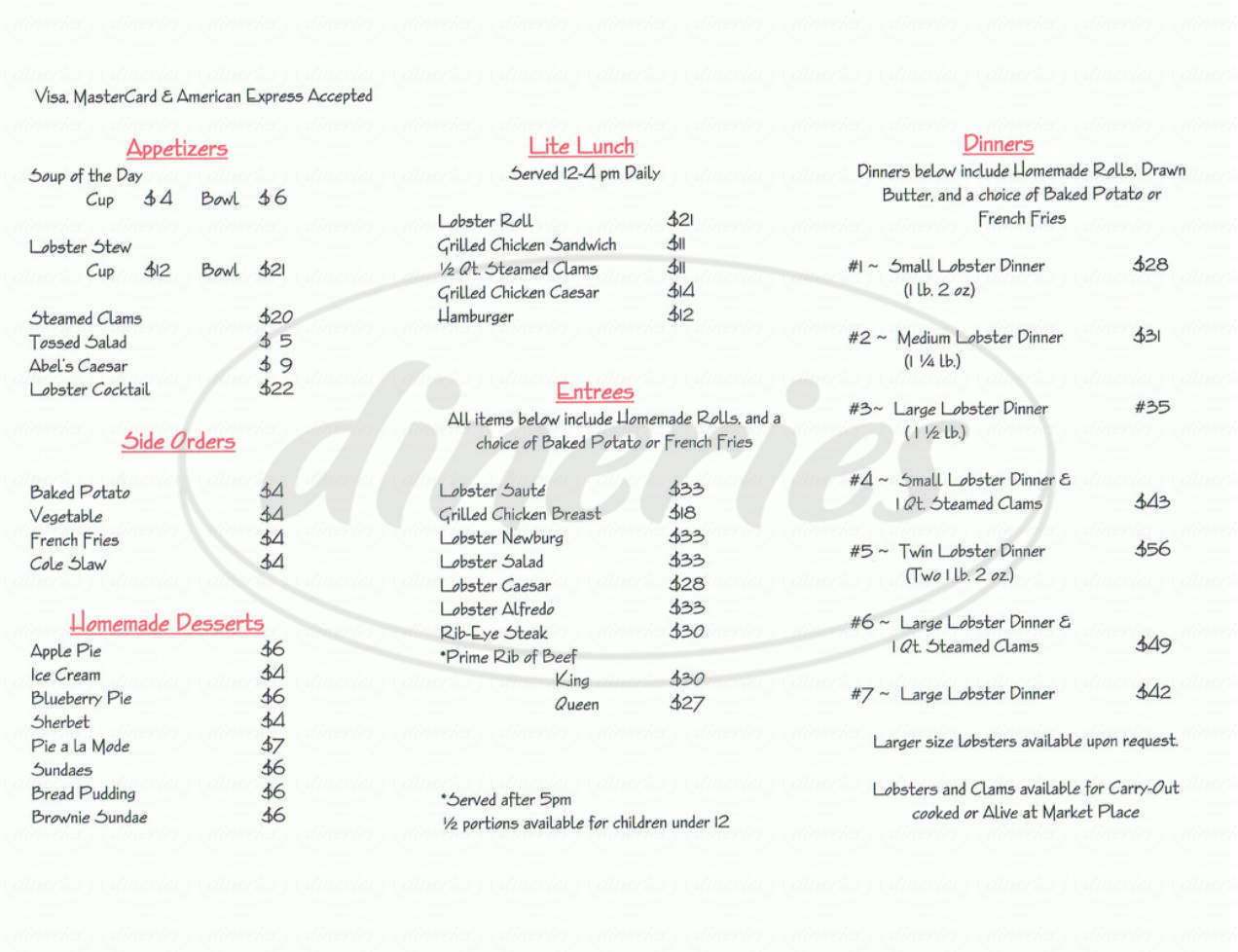 menu for Abel's Lobster Pound