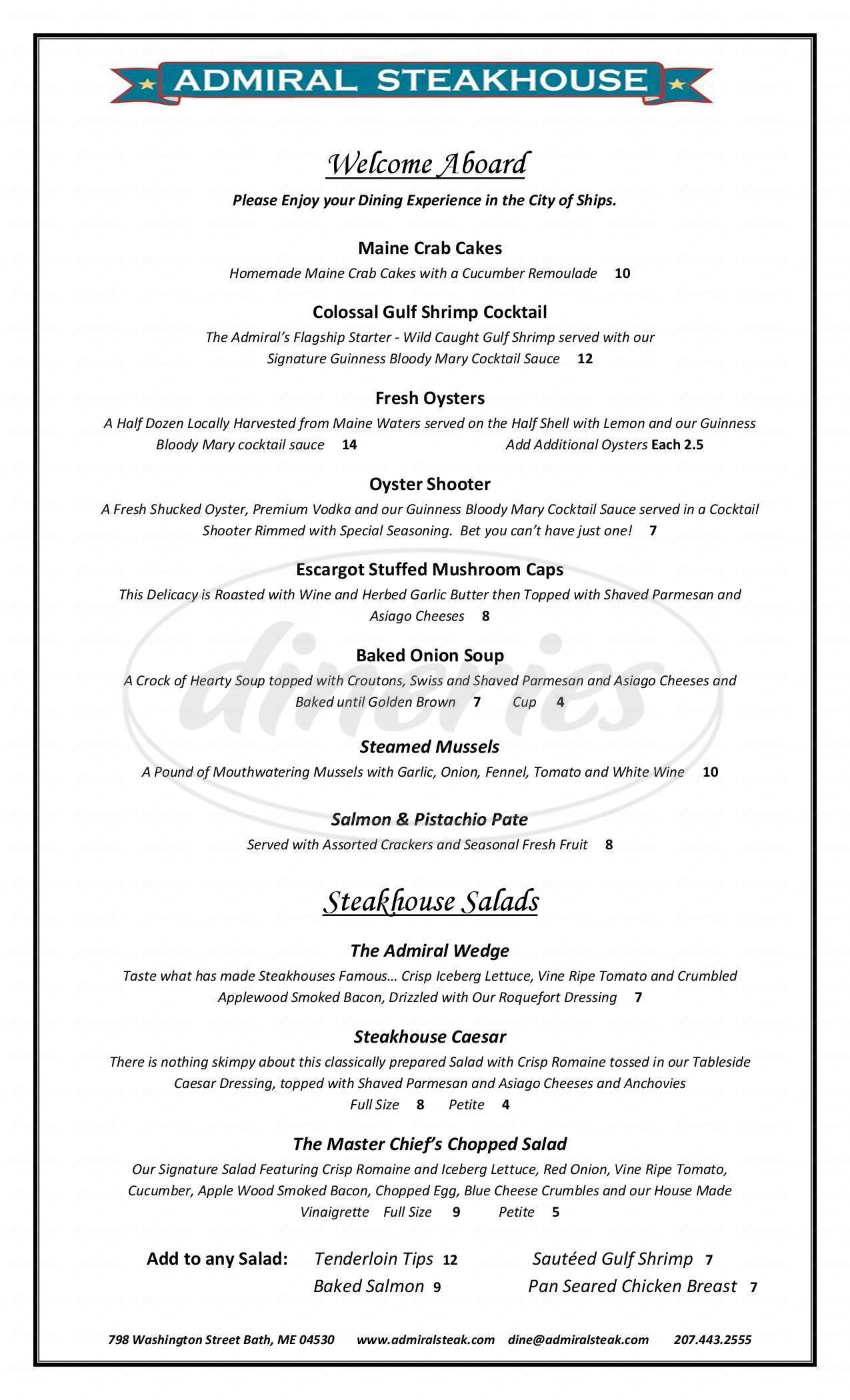 menu for Admiral Steakhouse