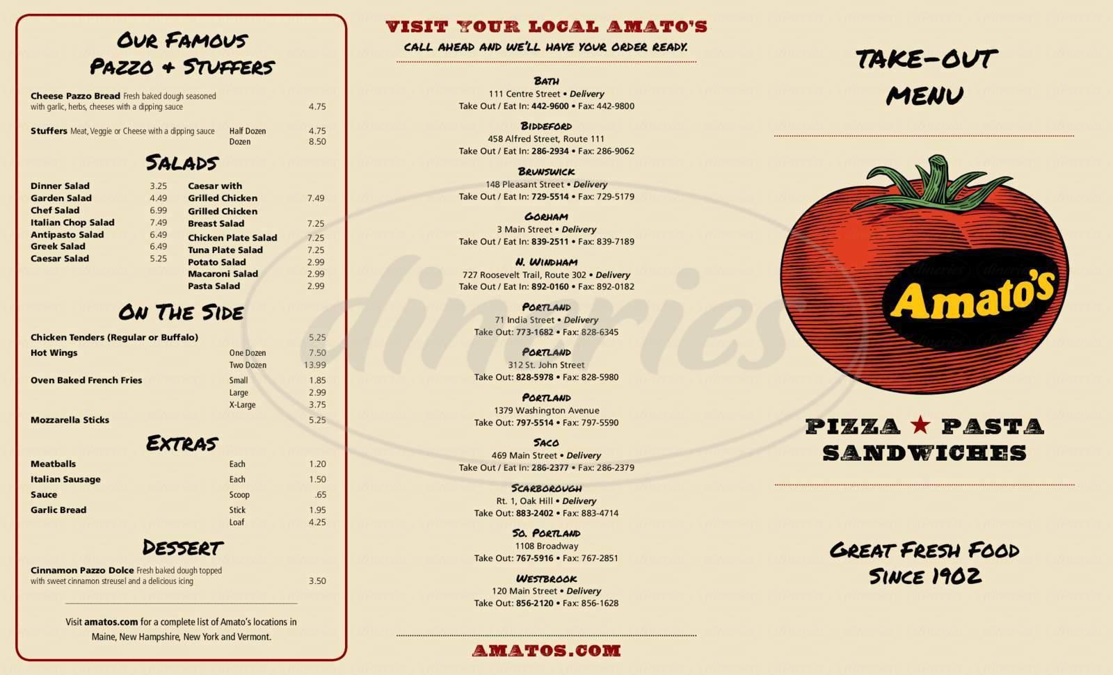 menu for Amato's Sandwich Shops