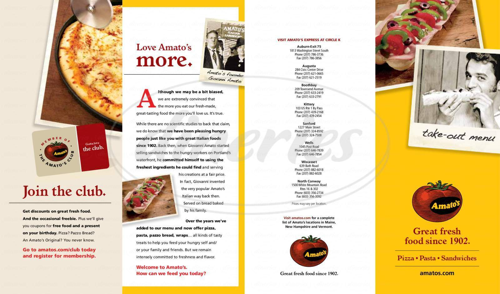 menu for Amato's