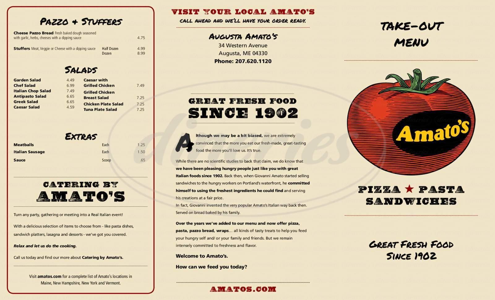 menu for Amato's