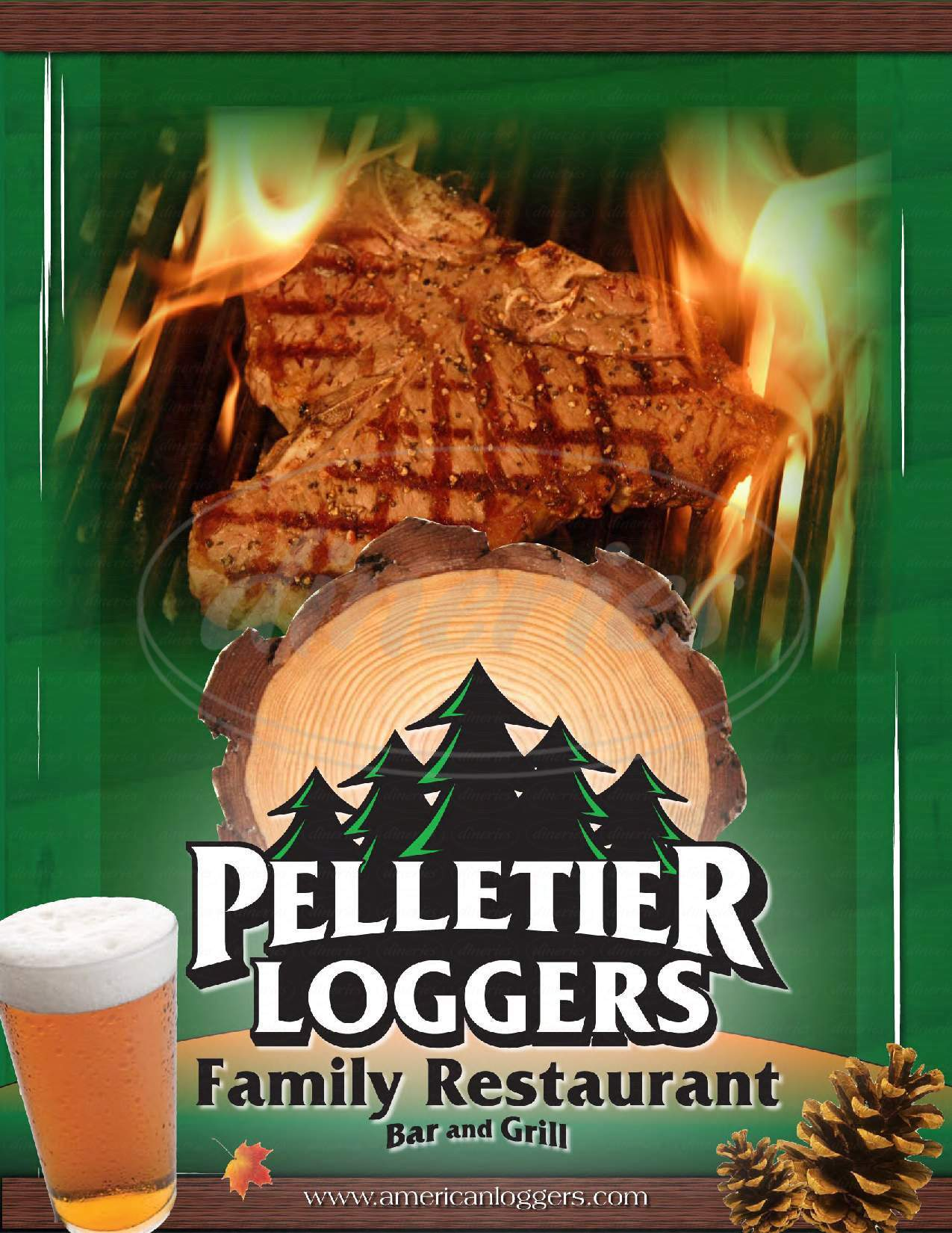 menu for Pelletier Loggers Family Restaurant Inc