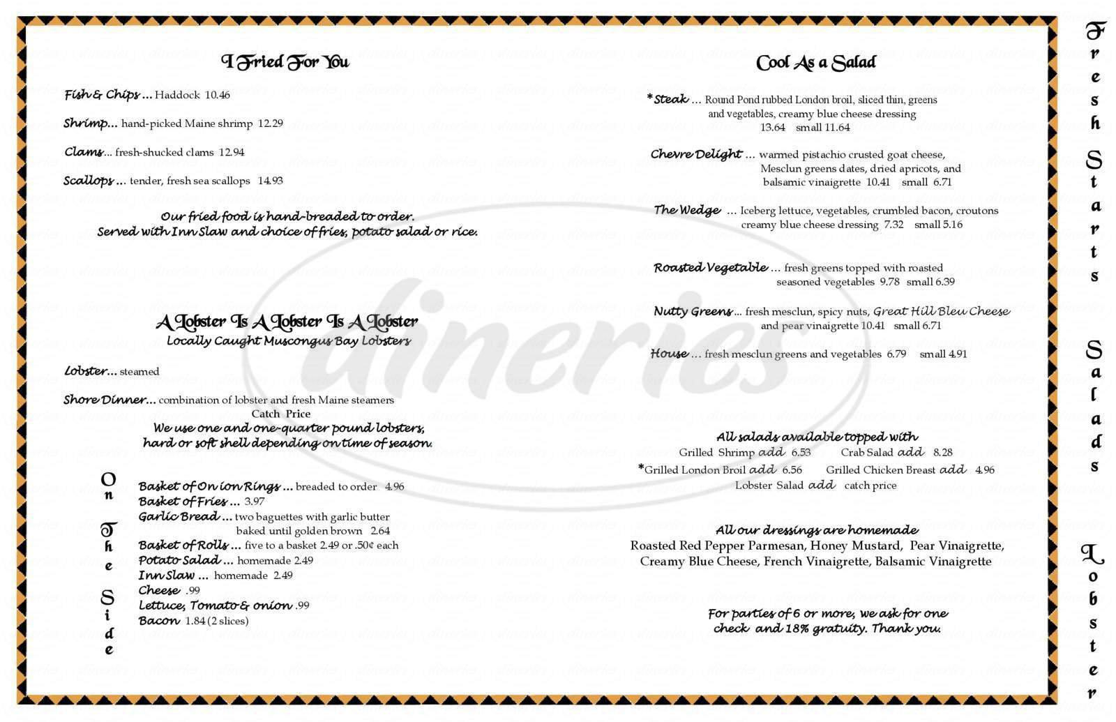 menu for Anchor Inn Restaurant