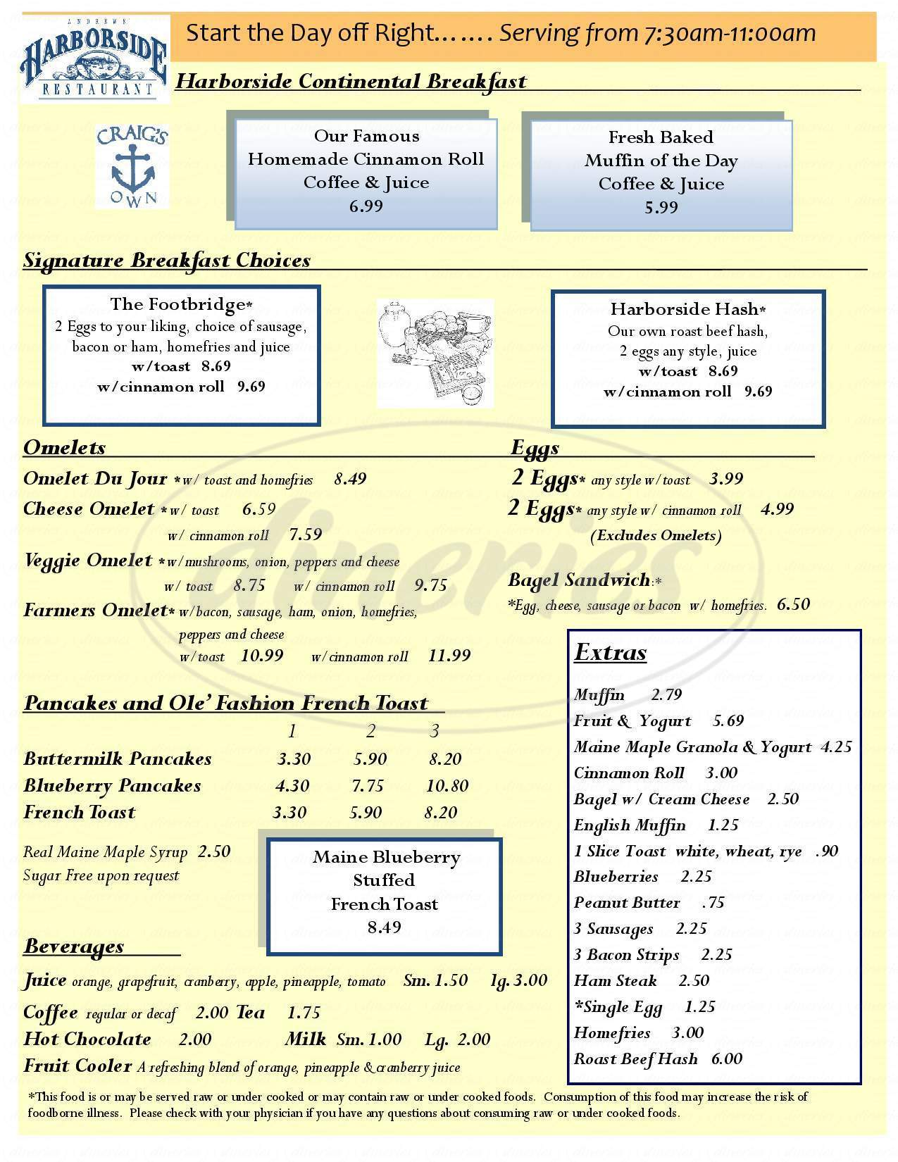 menu for Andrews Harborside Restaurant