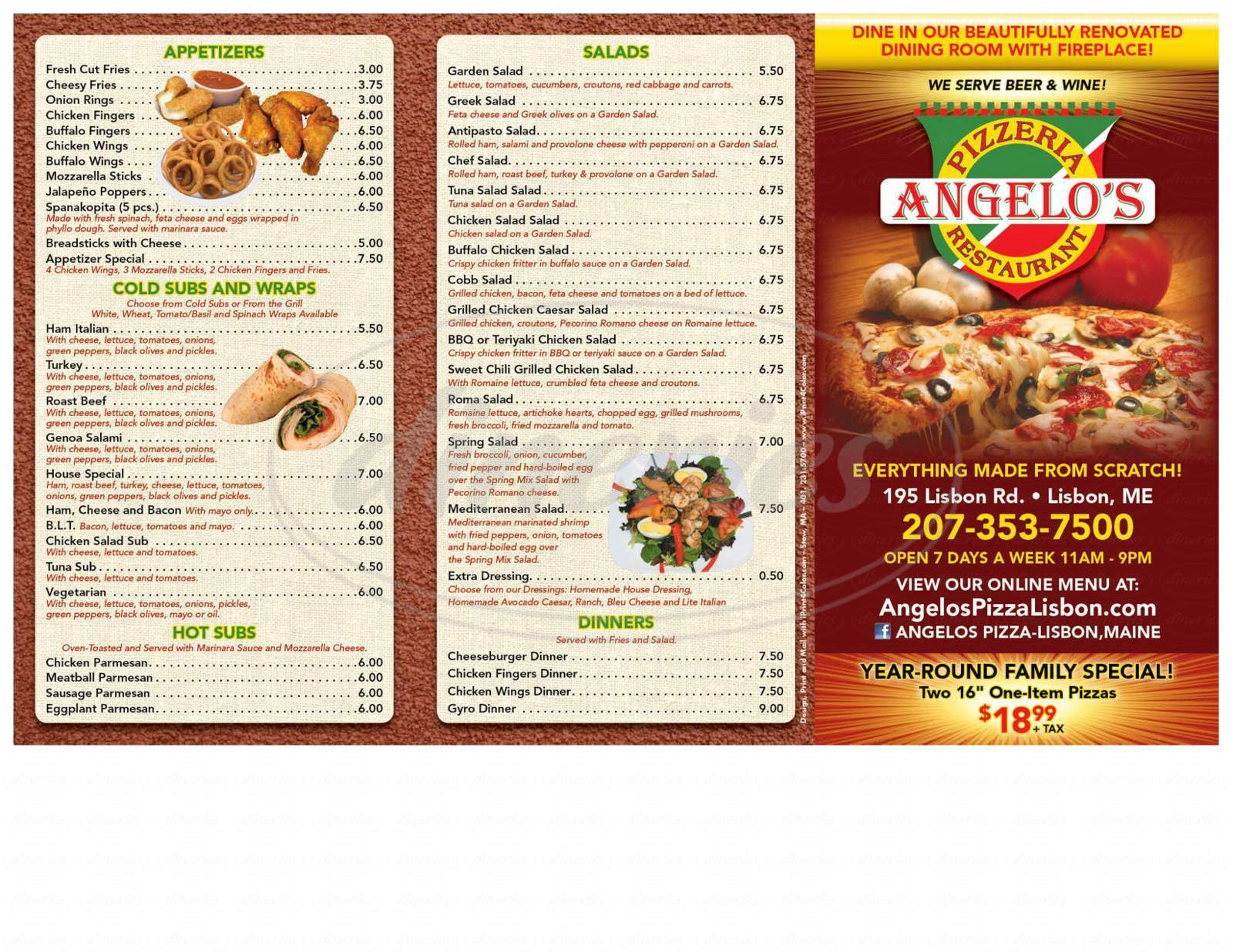 menu for Angelo's Pizzeria & Restaurant