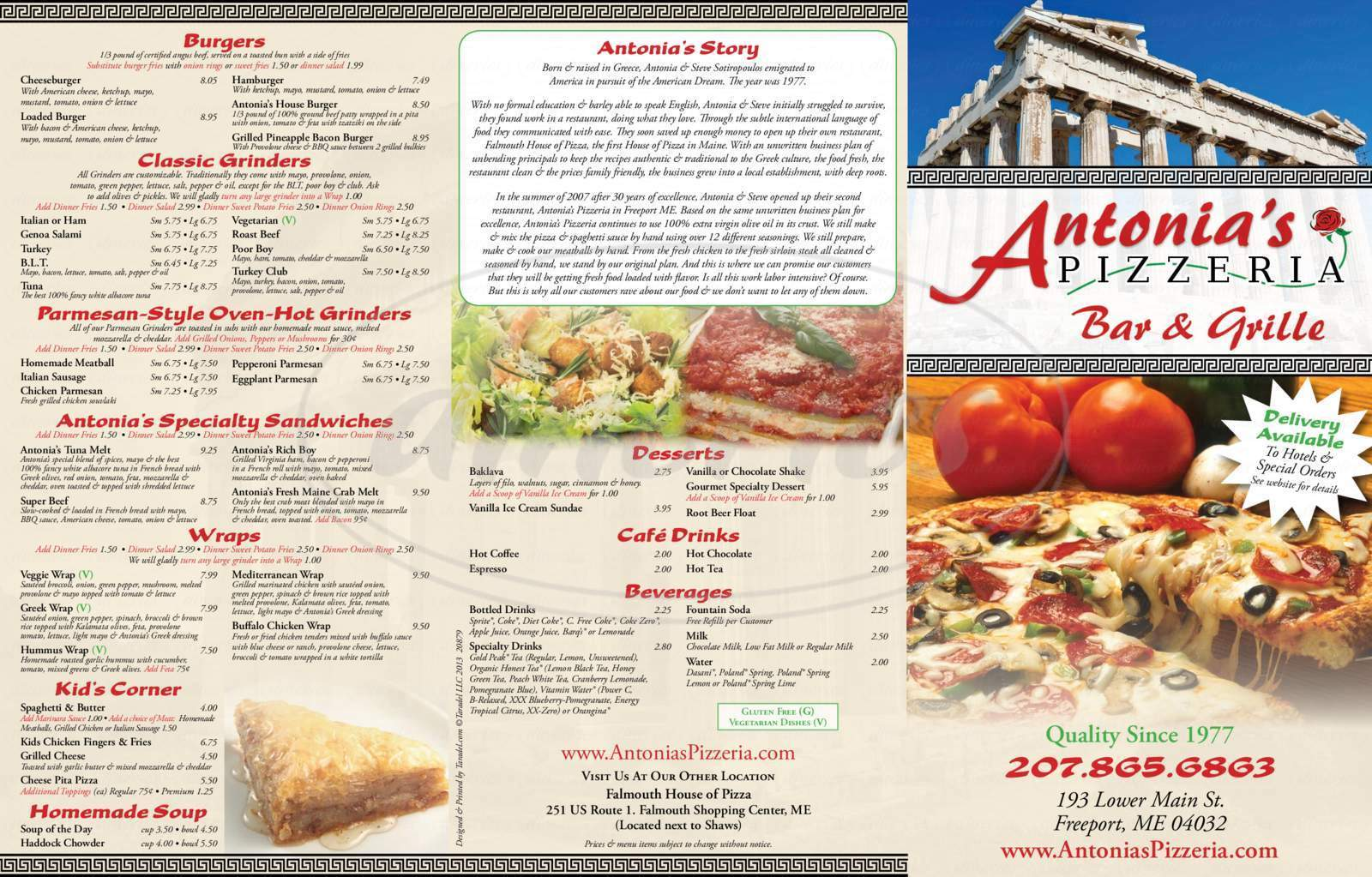menu for Antonia's Pizzeria