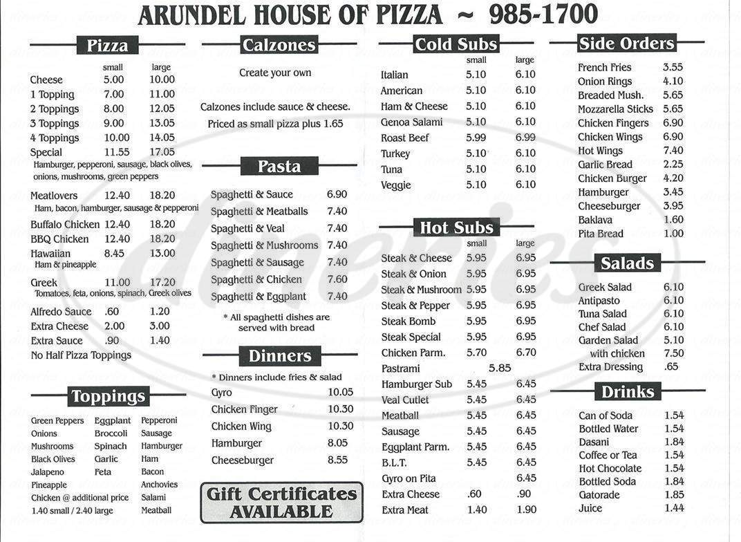 menu for Arundel House of Pizza
