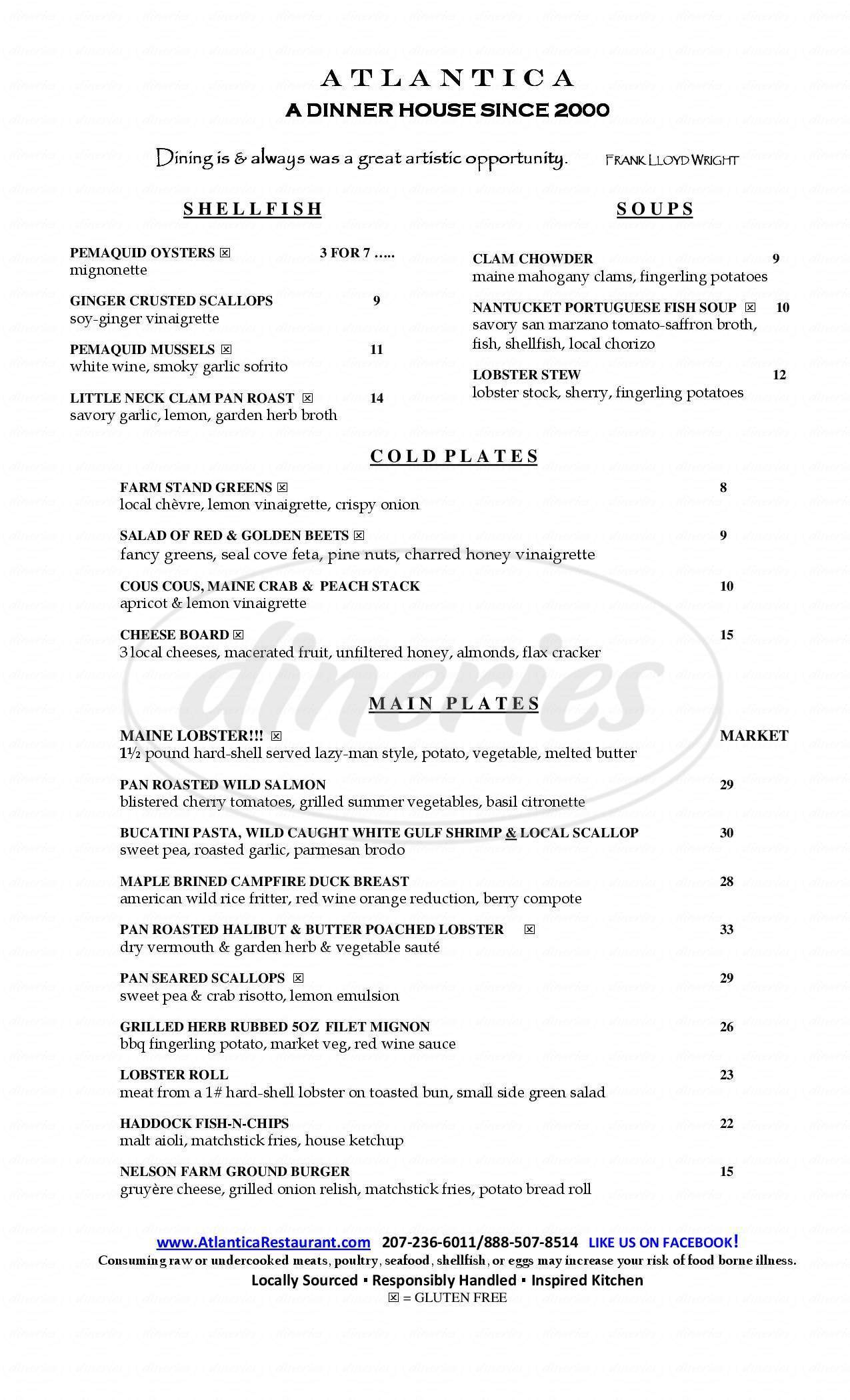 menu for Atlantica Restaurant