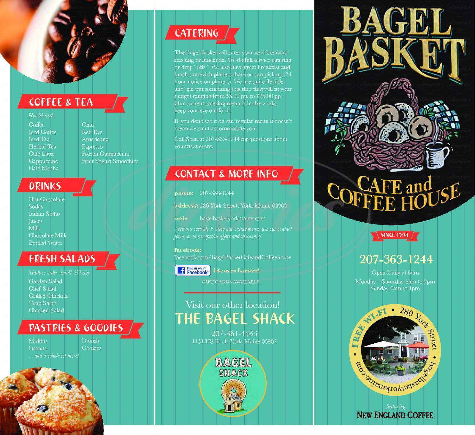 menu for Bagel Basket