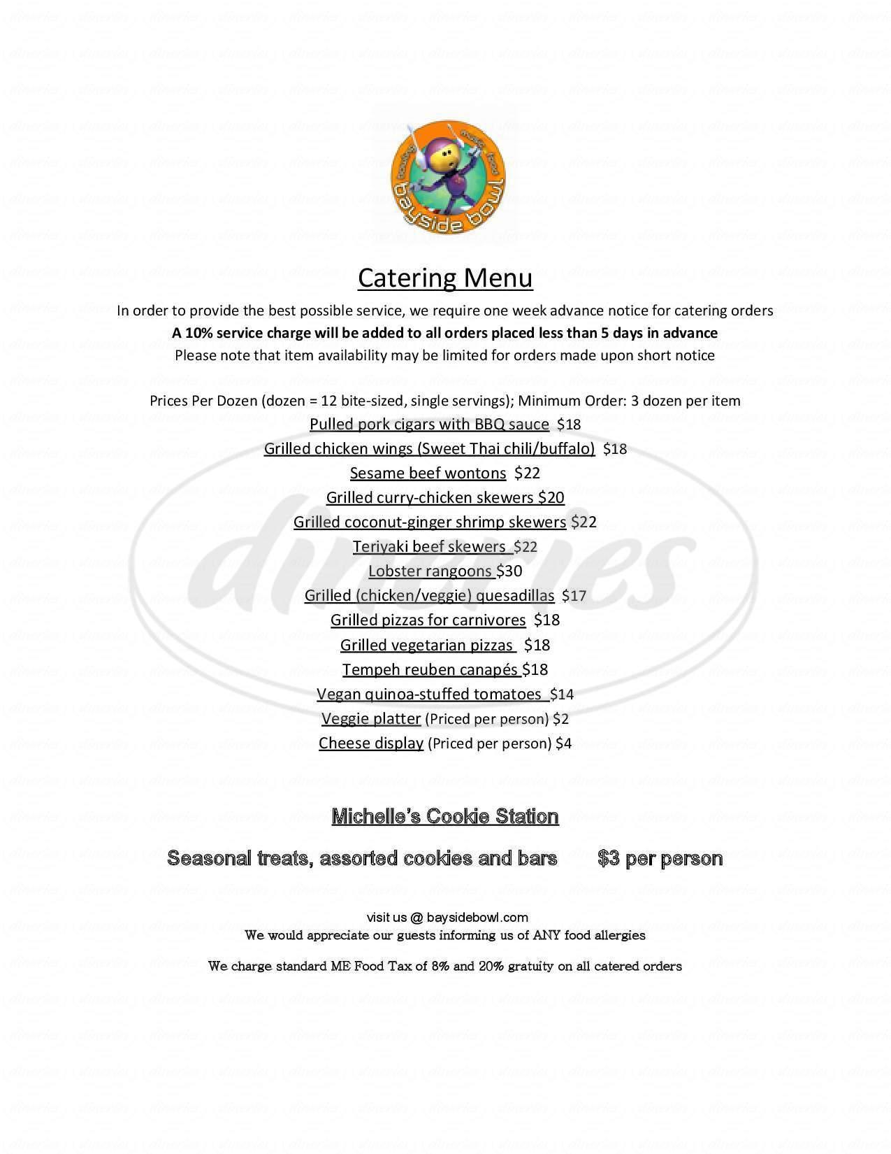 menu for Bayside Bowl