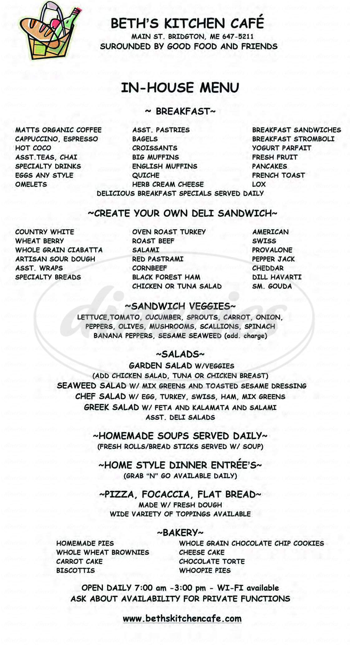 menu for Beth's Kitchen Cafe