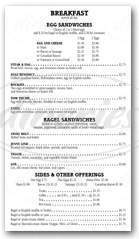 menu for Big Top Deli