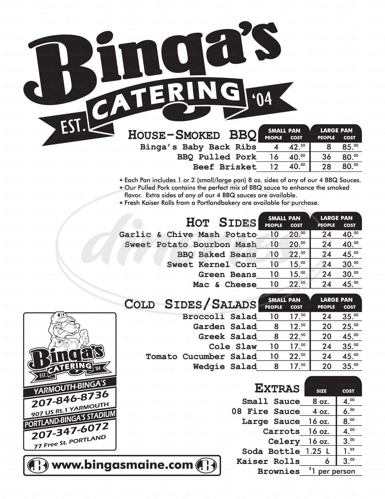 menu for Binga's Wingas