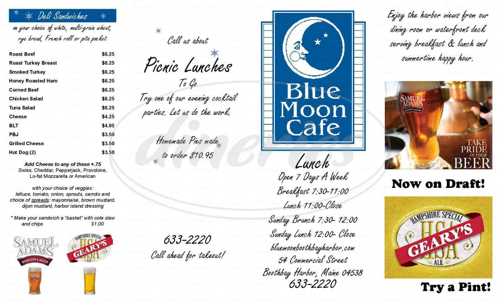 menu for Blue Moon Cafe