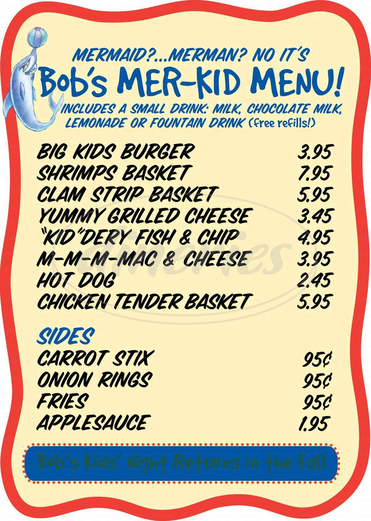 menu for Bob's Clam Hut