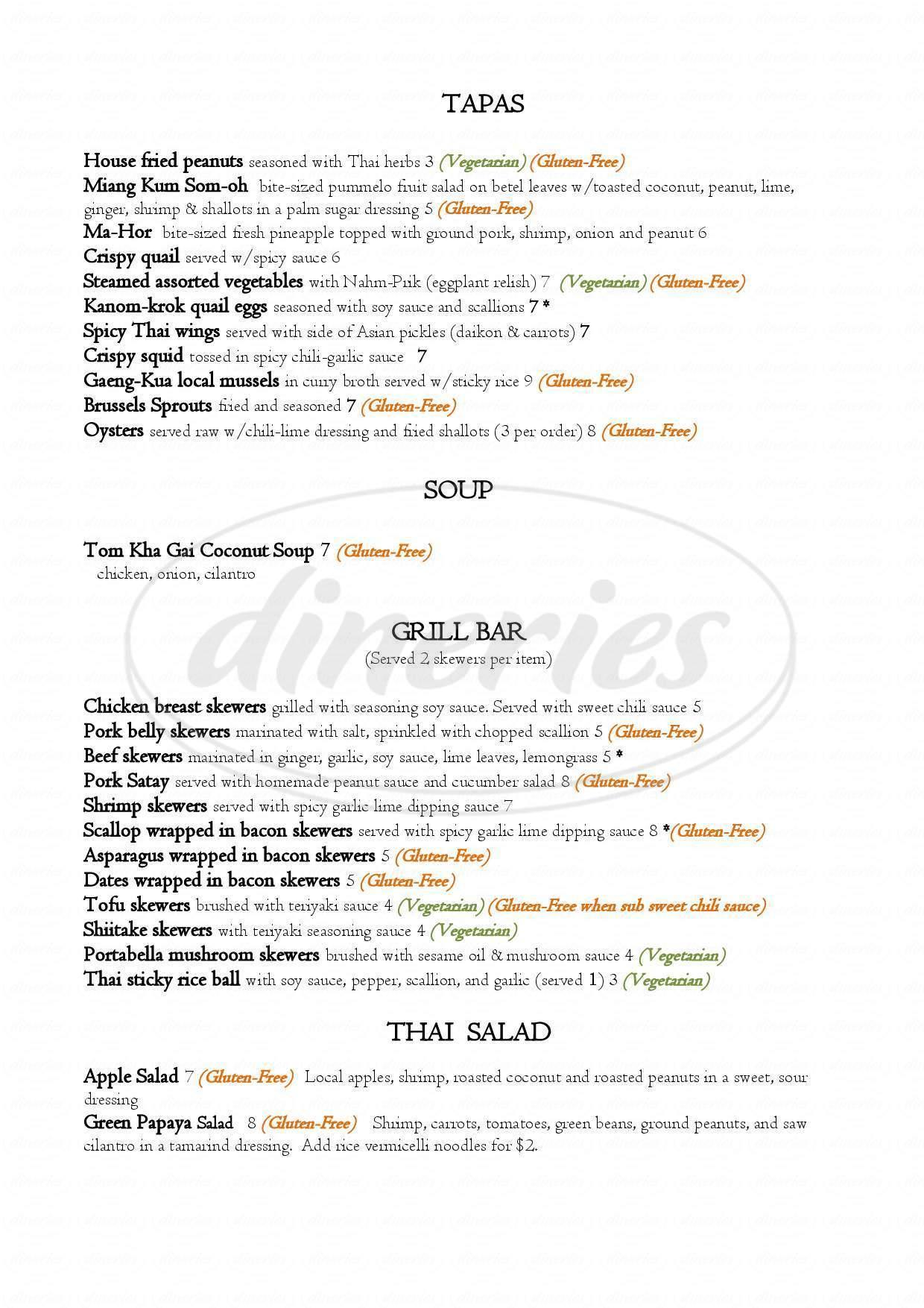 menu for Boda