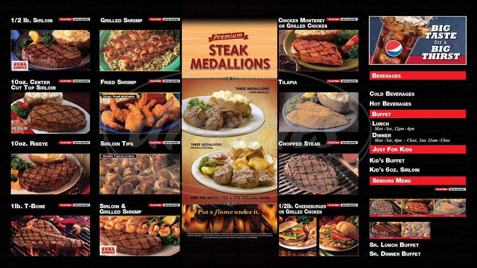 menu for Bonanza Steakhouse