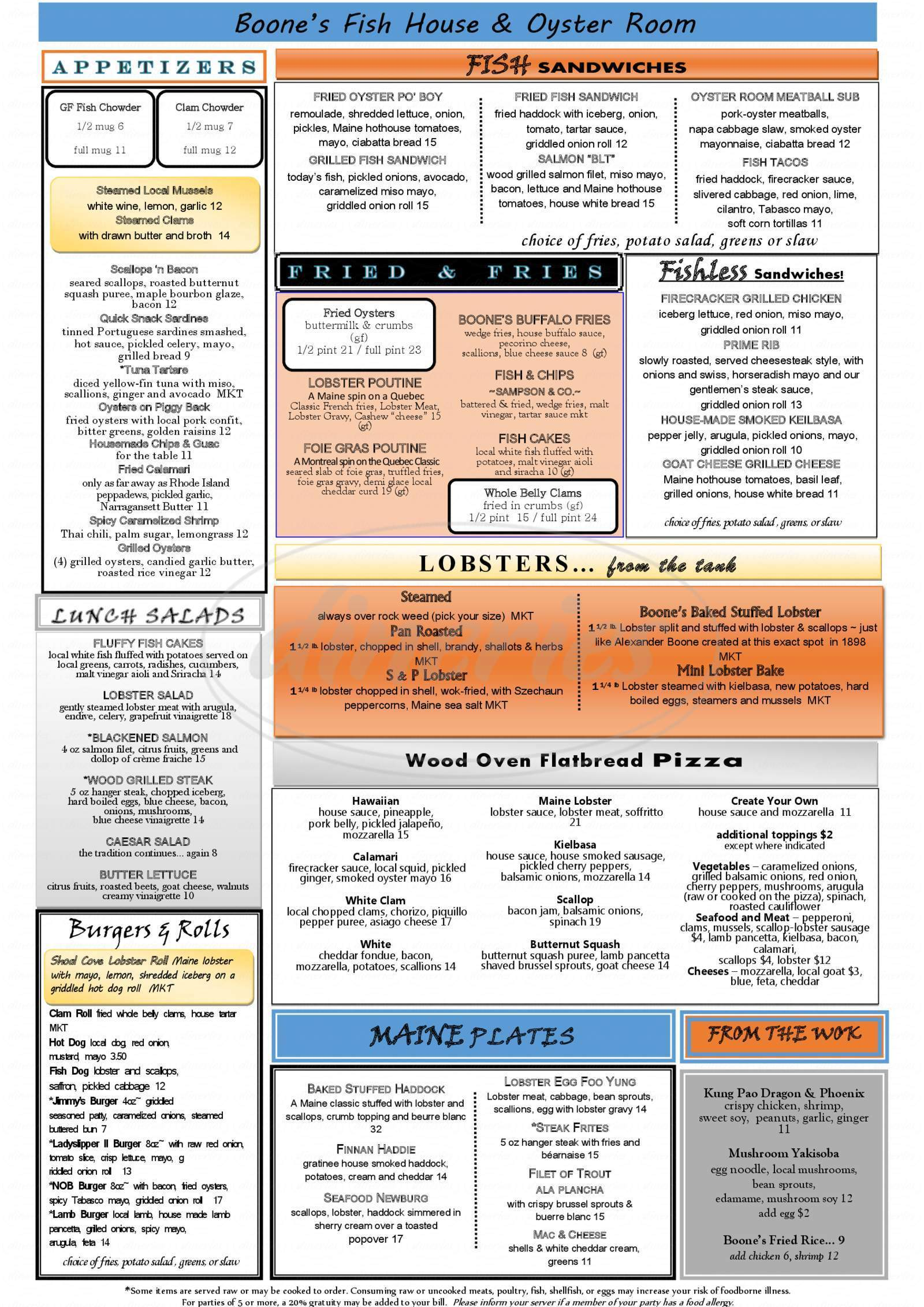 menu for Boone's Fish House & Oyster Room