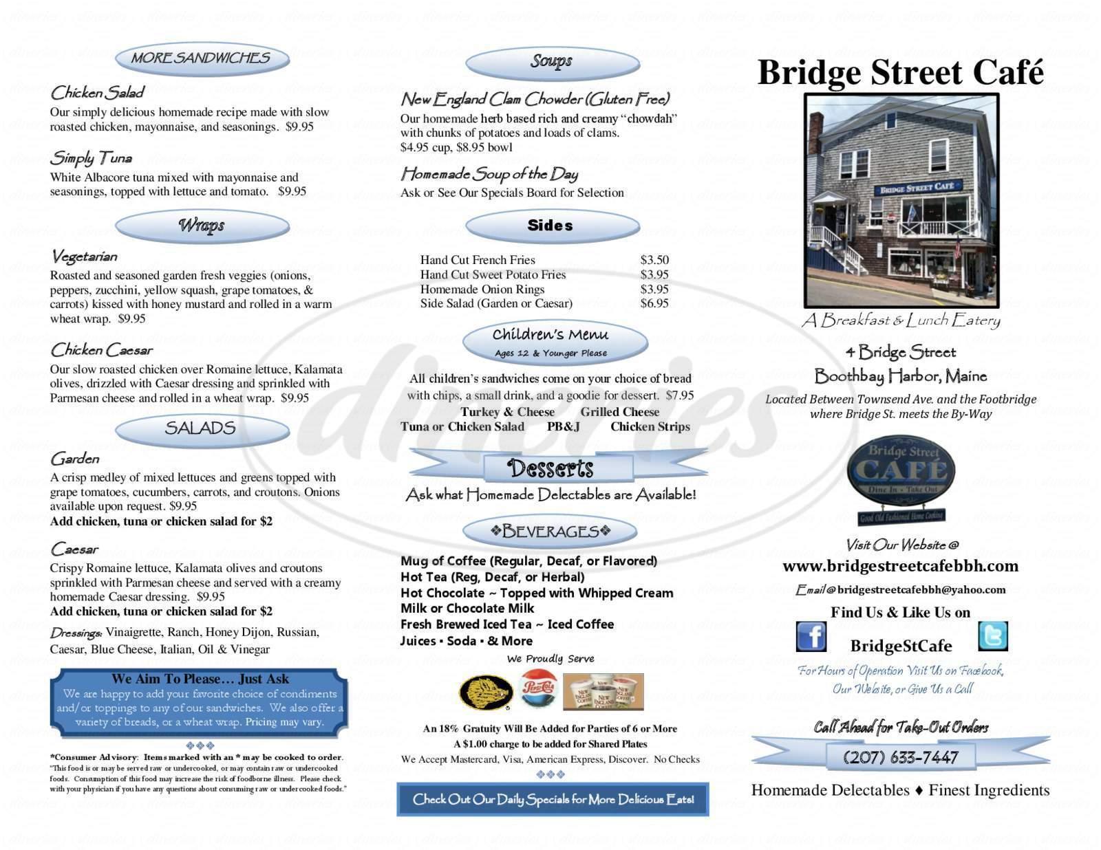 menu for Bridge Street Cafe