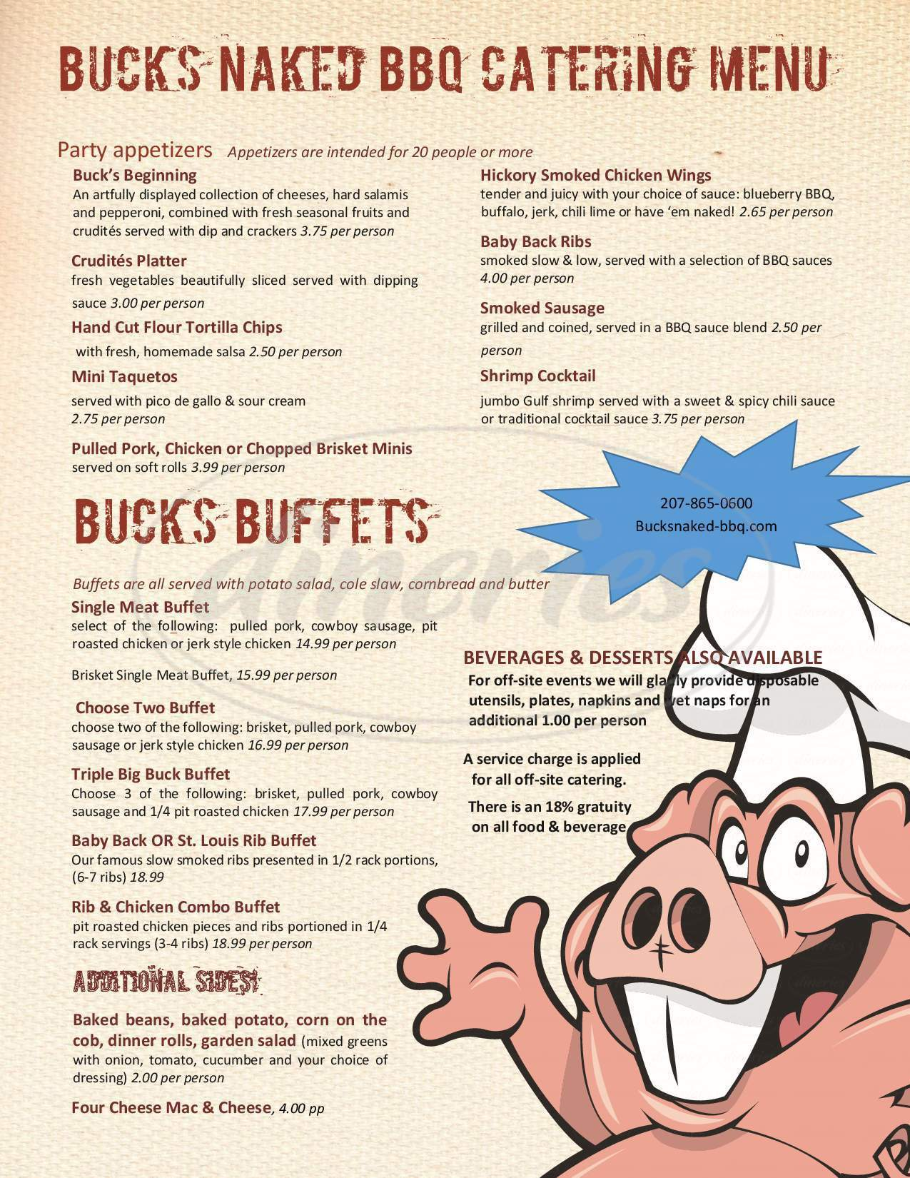 menu for Buck's Naked BBQ