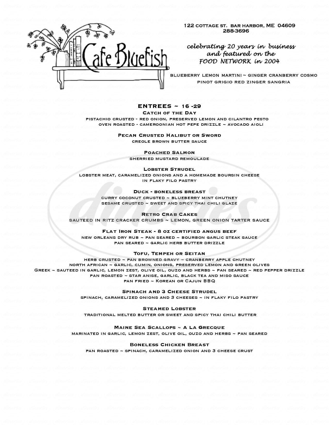 menu for Cafe Bluefish