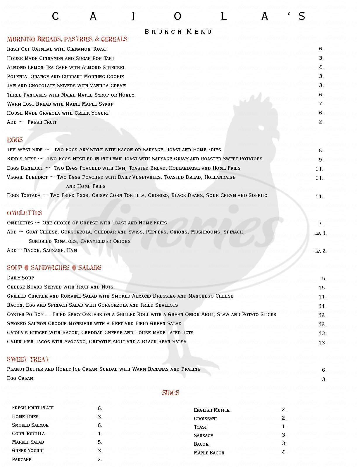 menu for Caiola's