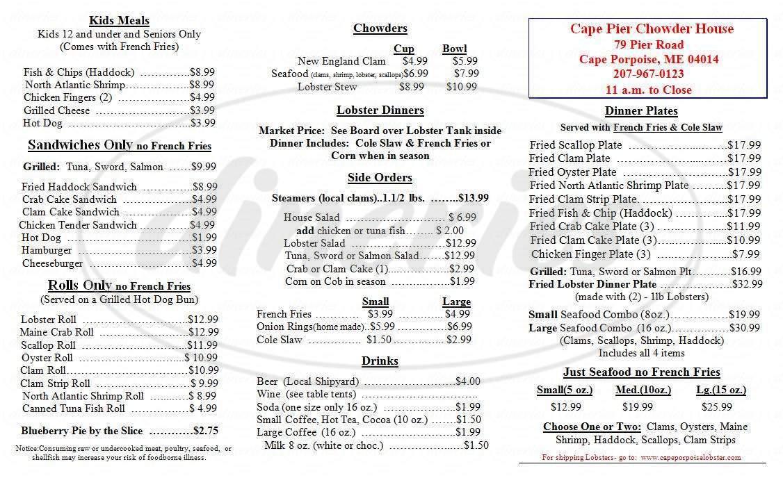 menu for Cape Pier Chowder House