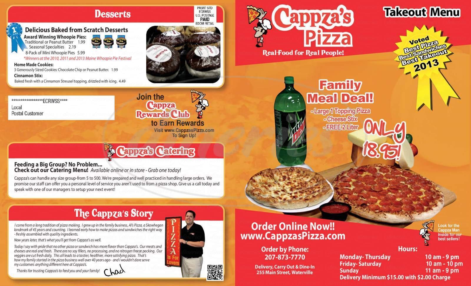menu for Cappza's Pizza